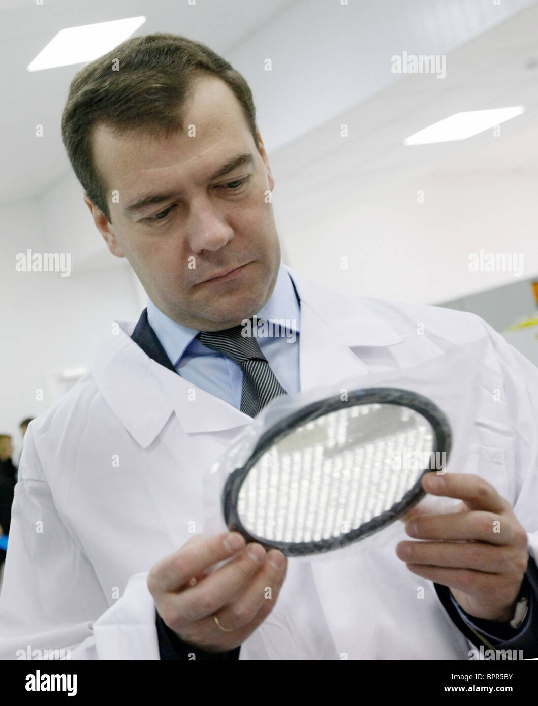 Medvedev visits space communications centre - Stock Image