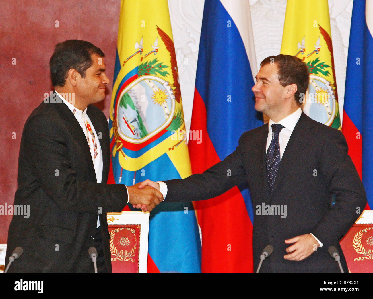 Presidents of Russia and Ecuador meet for talks - Stock Image