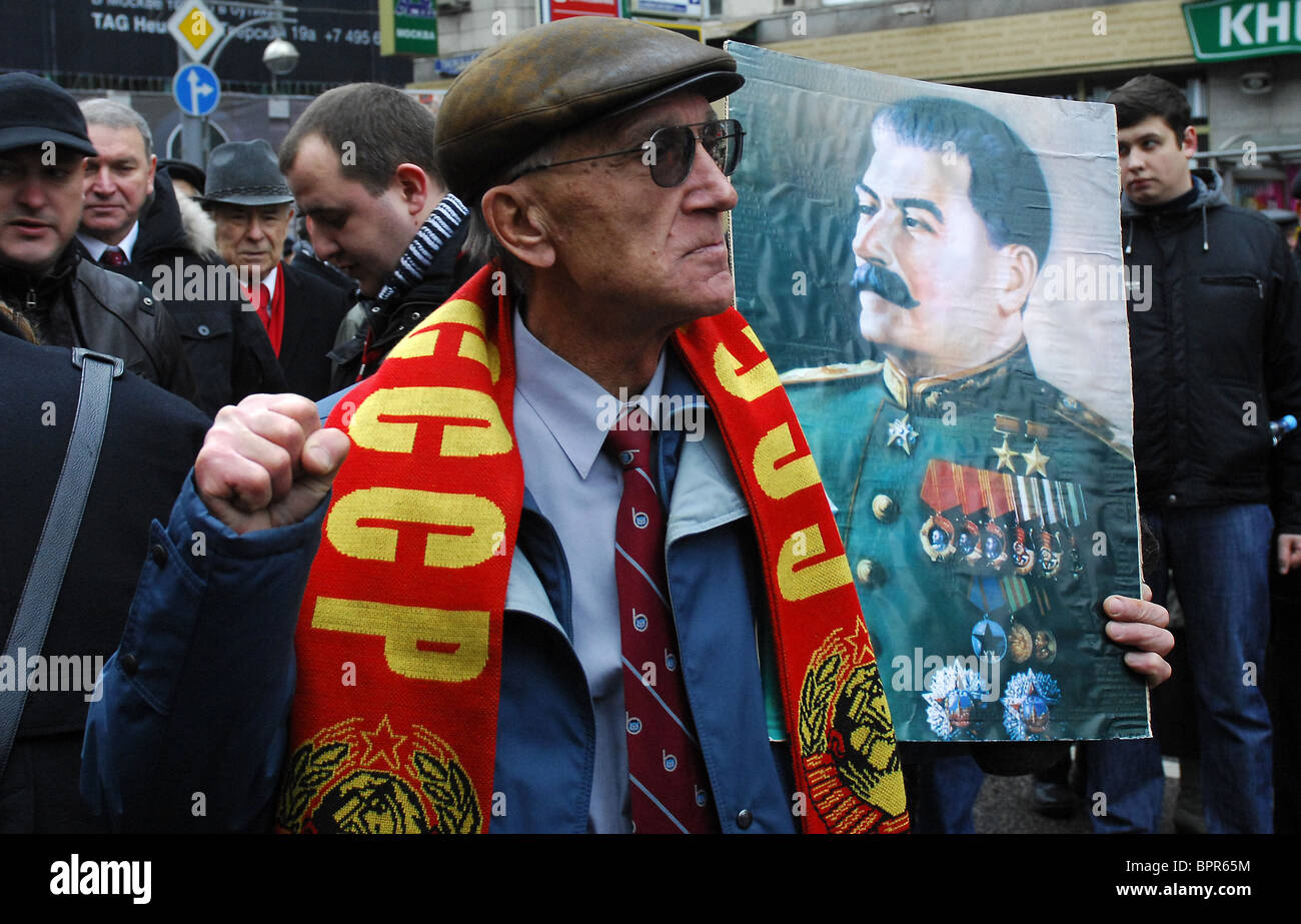 Communists celebrate October Revolution anniversary - Stock Image