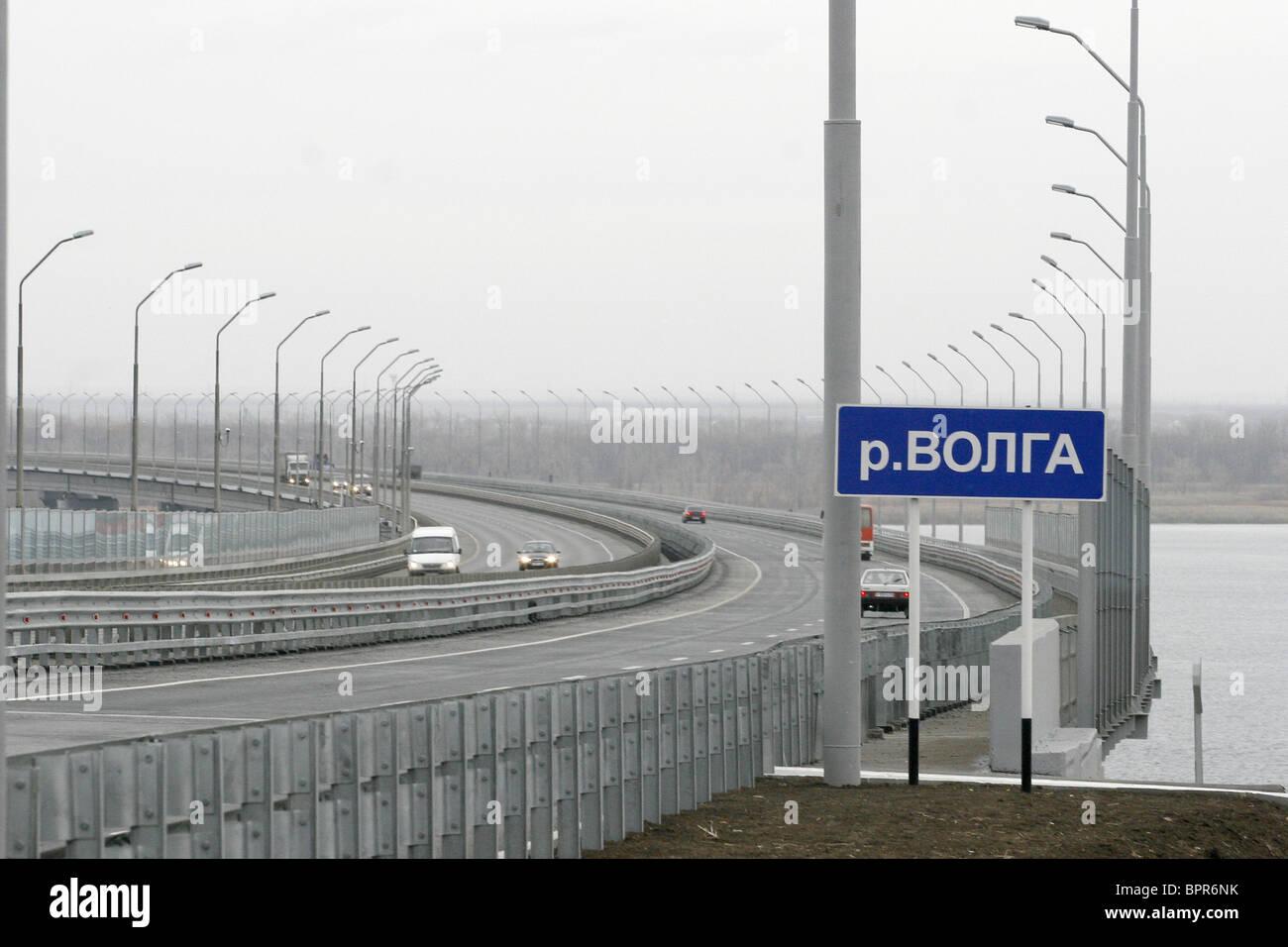 New bridge across Volga River appears in Saratov - Stock Image