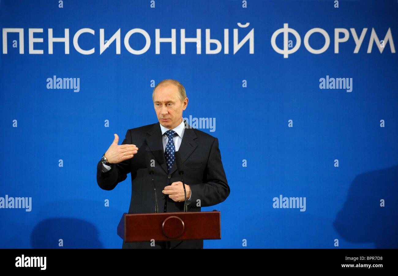 Putin attends Russian Pension Forum - Stock Image
