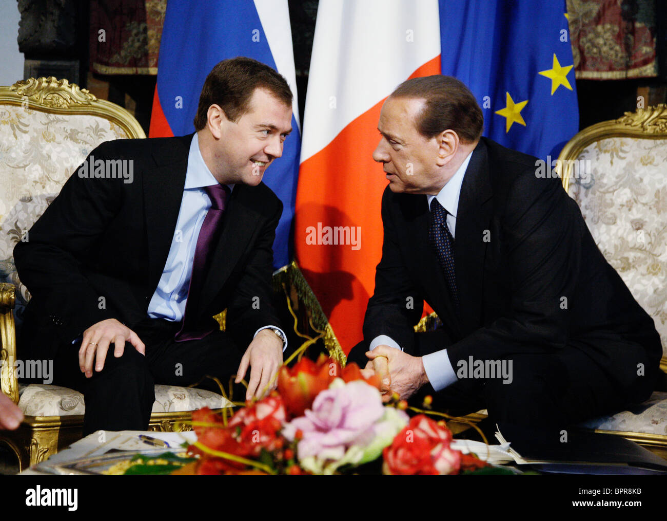 Medvedev on official visit to Italy - Stock Image