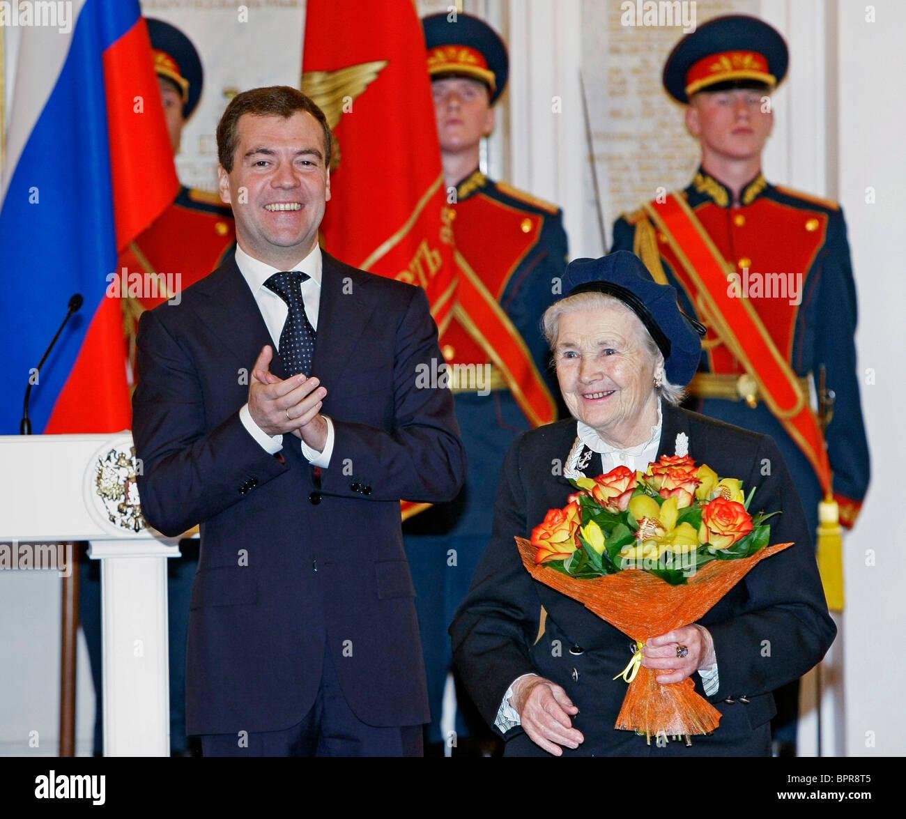 Medvedev presents awards to Great Patriotic War veterans - Stock Image