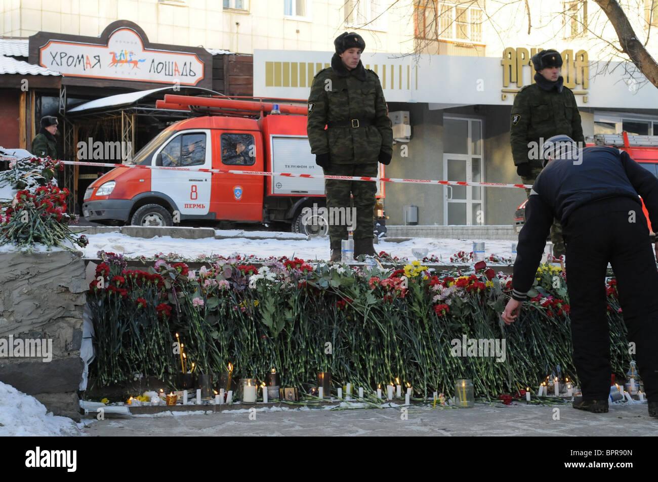 Russian nightclub blast kills more than a hundred - Stock Image