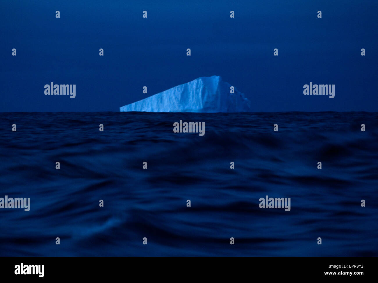 Ice floats off of the waters of Antarctica. Stock Photo