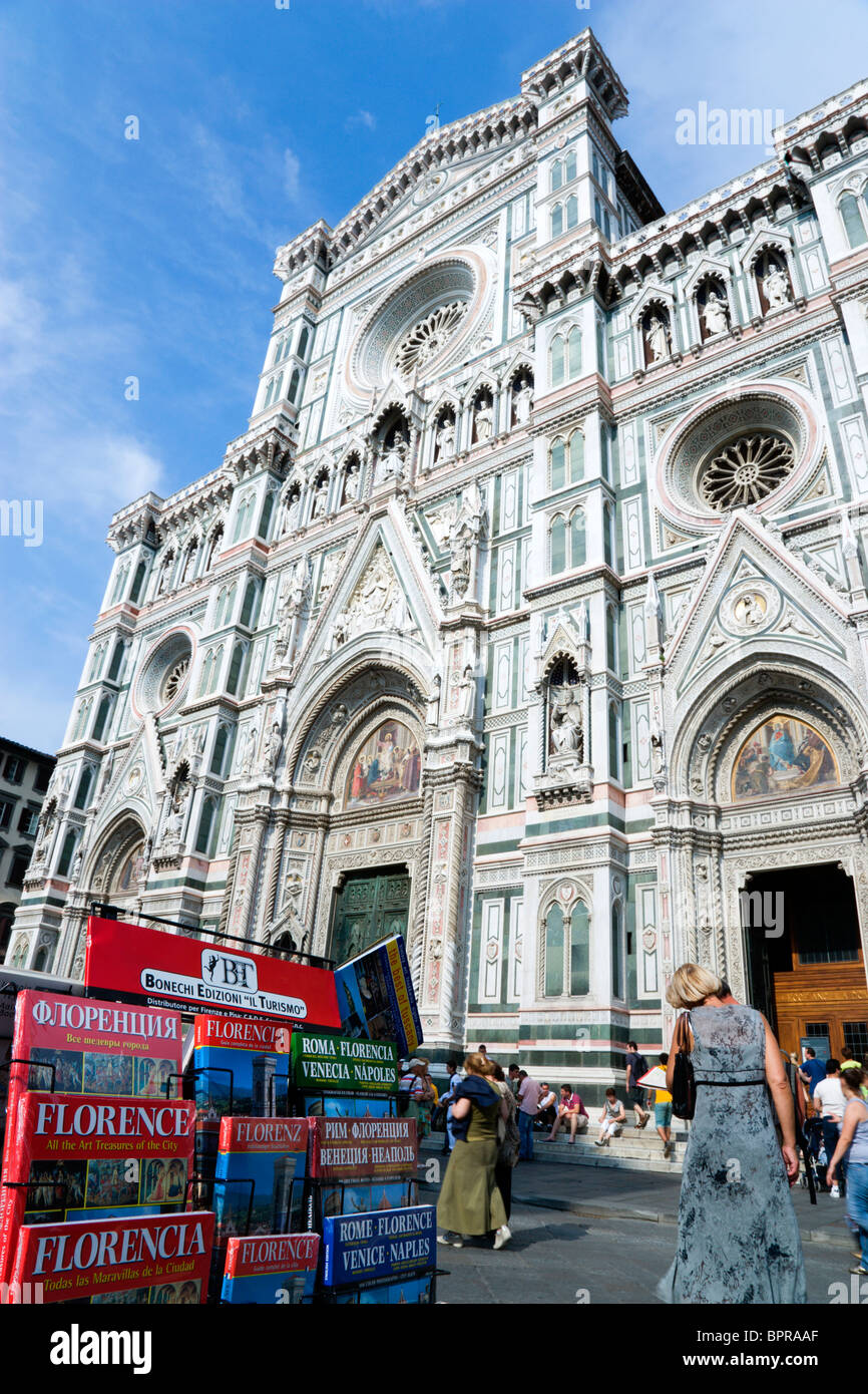 ITALY Tuscany Florence The Neo-Gothic marble west facade of the Cathedral of Santa Maria del Fiore the Duomo with Stock Photo