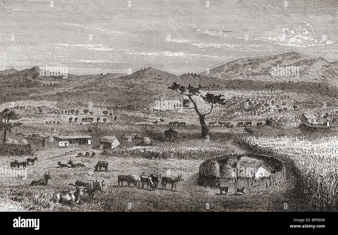 A settlement in Kouihara, West Africa, in the 19th century. - Stock Image