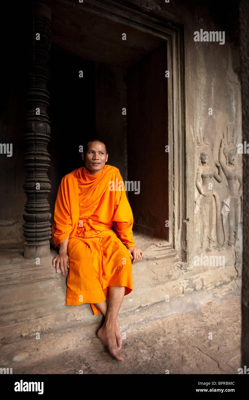 monk, Angkor Wat, Siem Reap, Cambodia Stock Photo