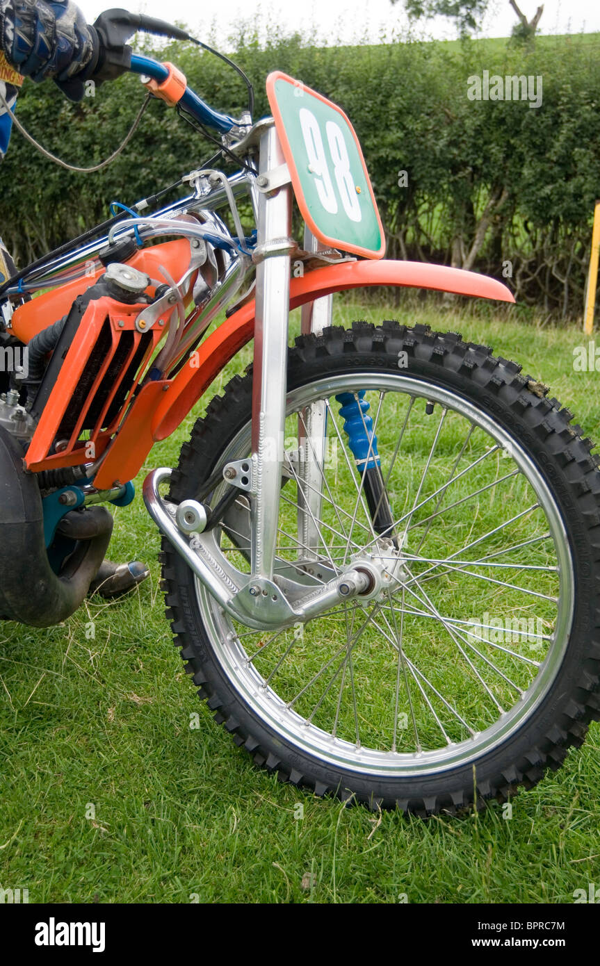 grass track speedway bike front forks suspension wheel tire grasstrack grasstracking grasstracker race racing motorcycle - Stock Image