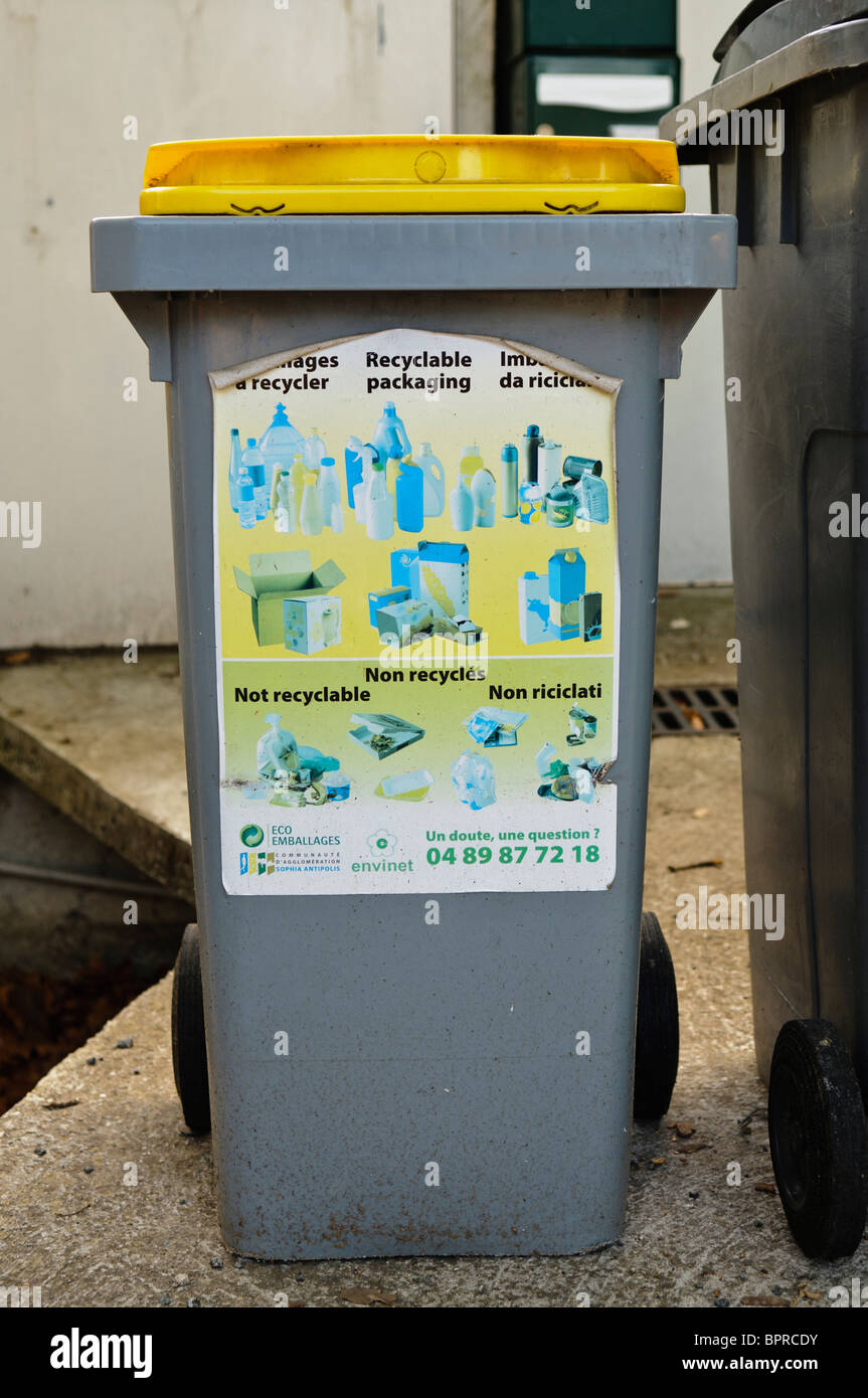 French Recycling Bin Stock Photo