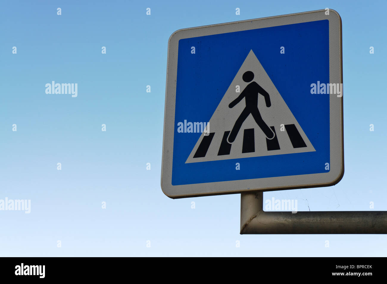 French zebra crossing road sign Stock Photo