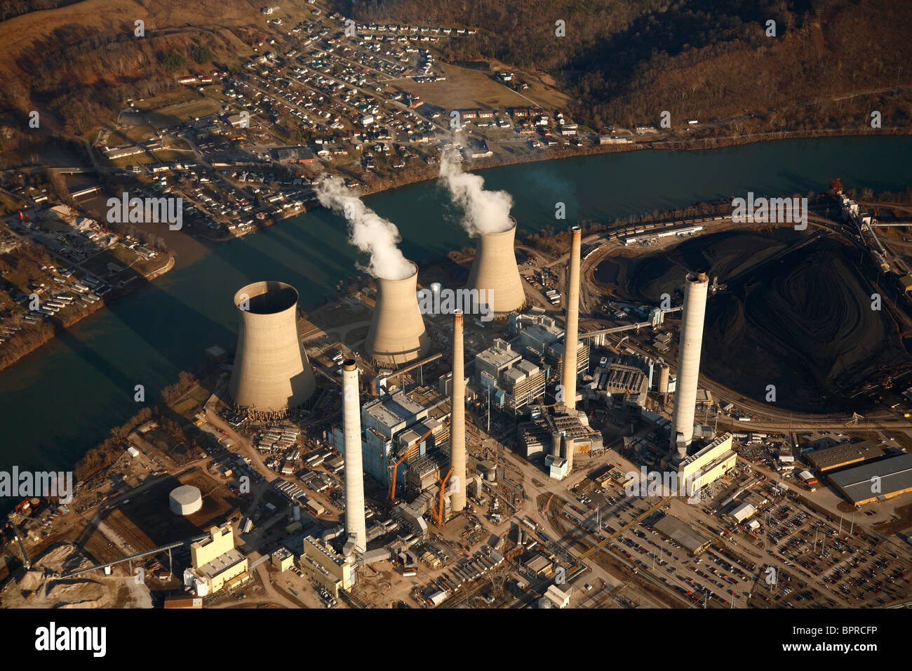 Aerial view of a coal-fired power plant. - Stock Image