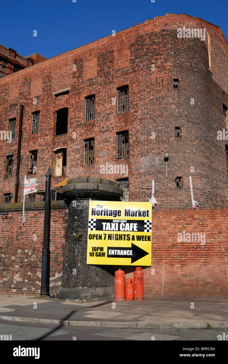 Part of the Tobacco Warehouse complex by Stanley Dock on the Dock Road in Liverpool. Stock Photo