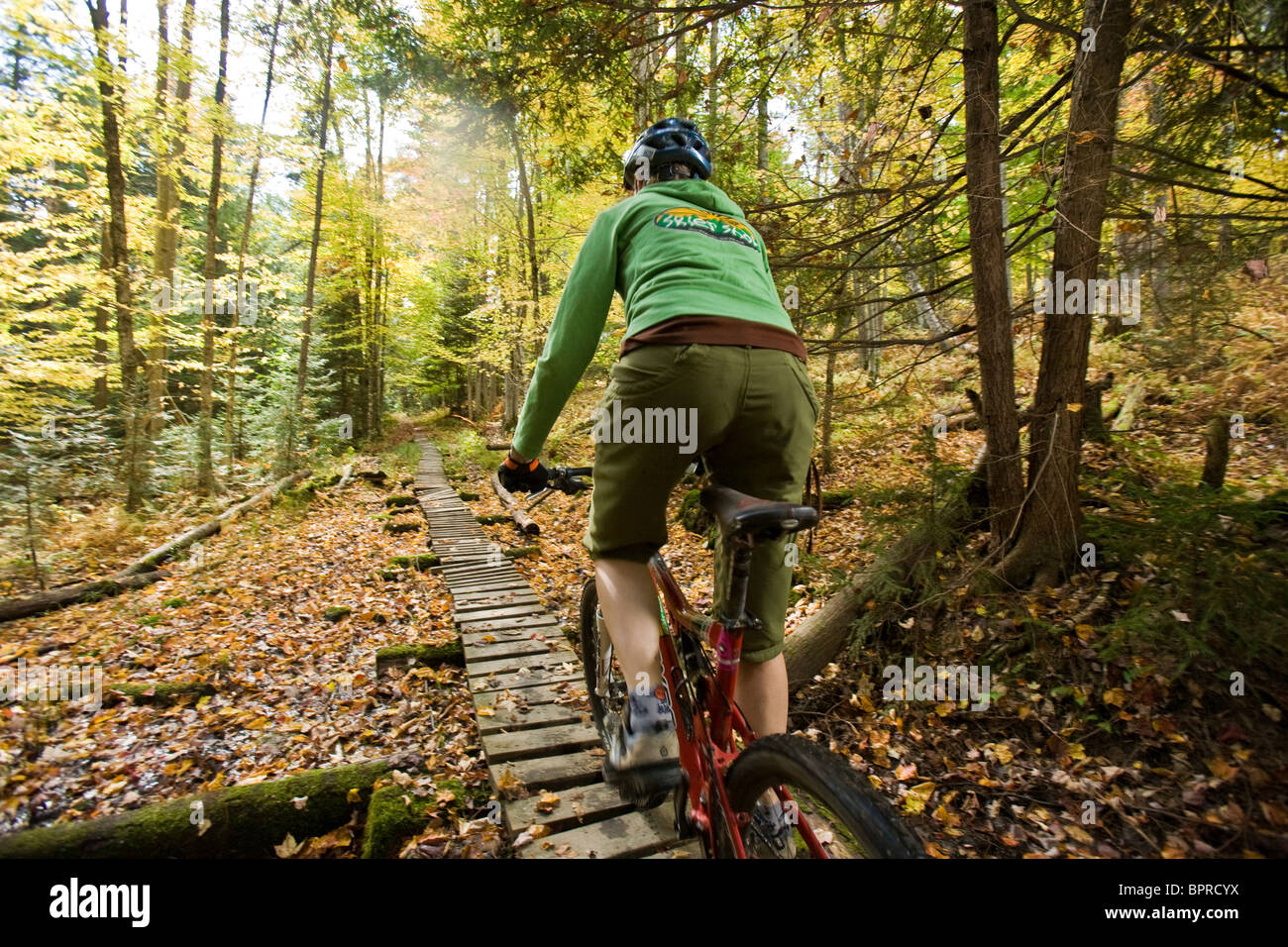 Mid adult woman  mountain biking through the Green Mountians, on the longtrail in Stowe Vermont, USA - Stock Image