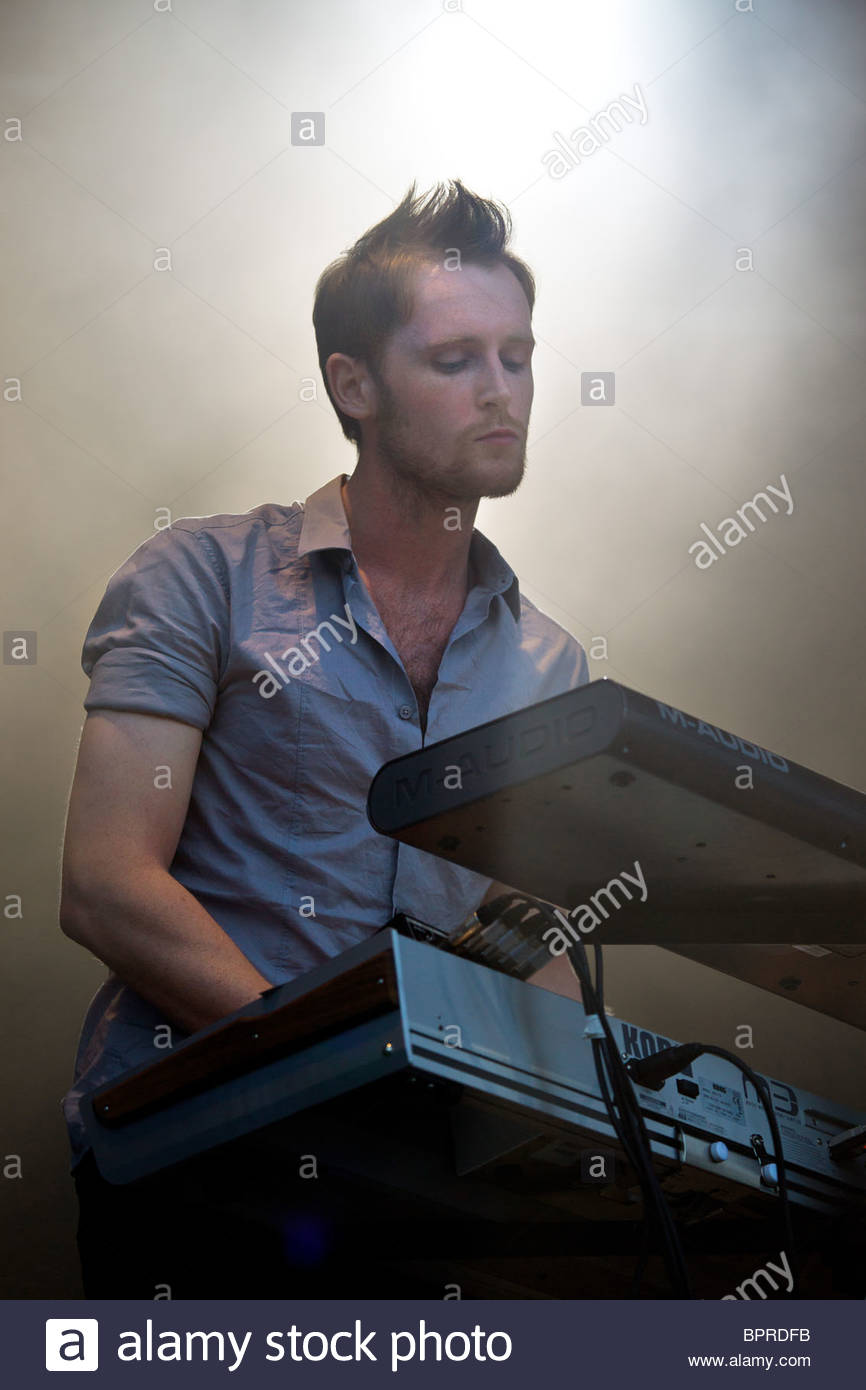 White Lies english alternative rock band from Ealing performing live - Stock Image