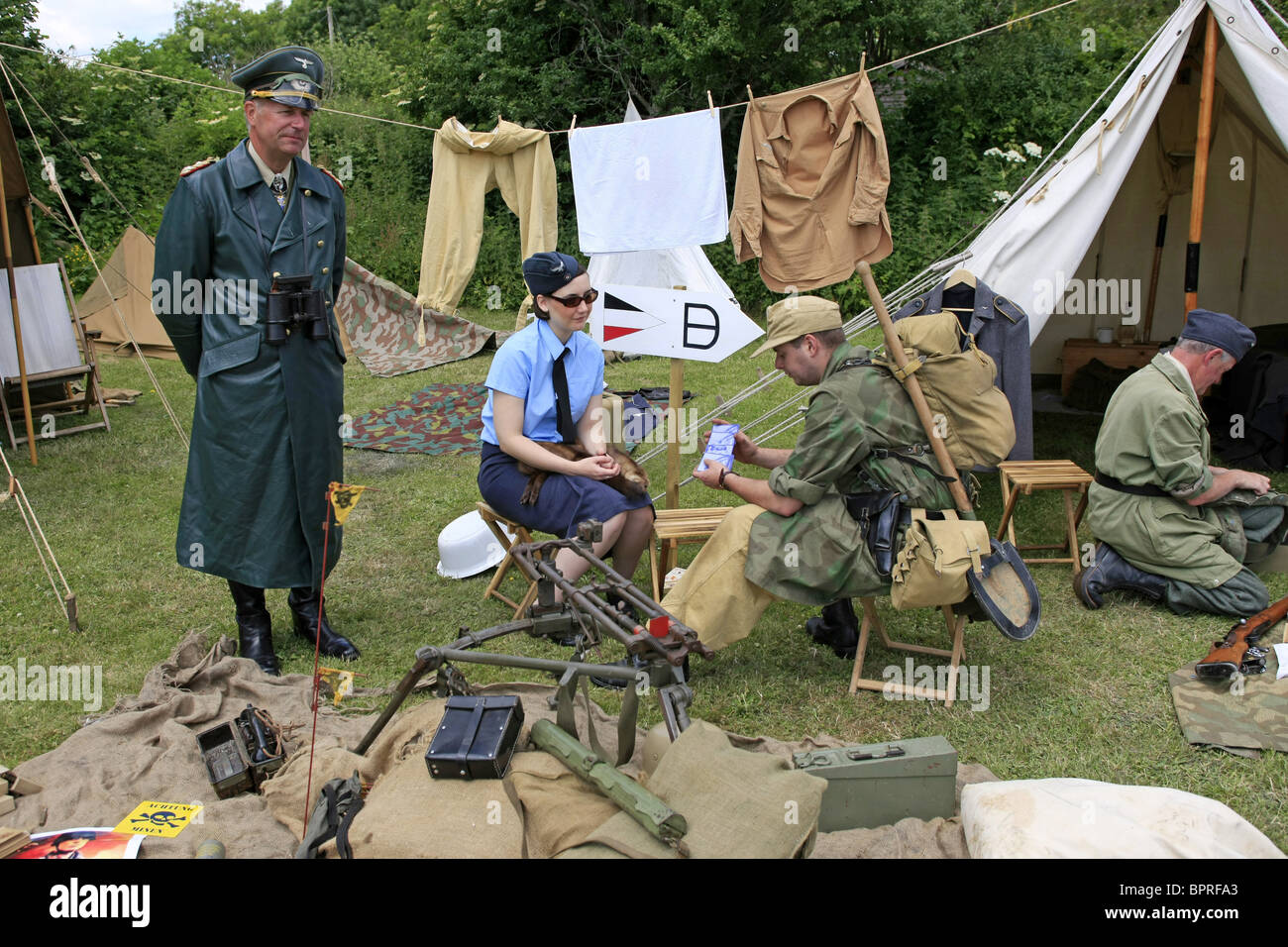 WW2 Reenactment camp of Erwin Rommel during his time in Normandy - Stock Image