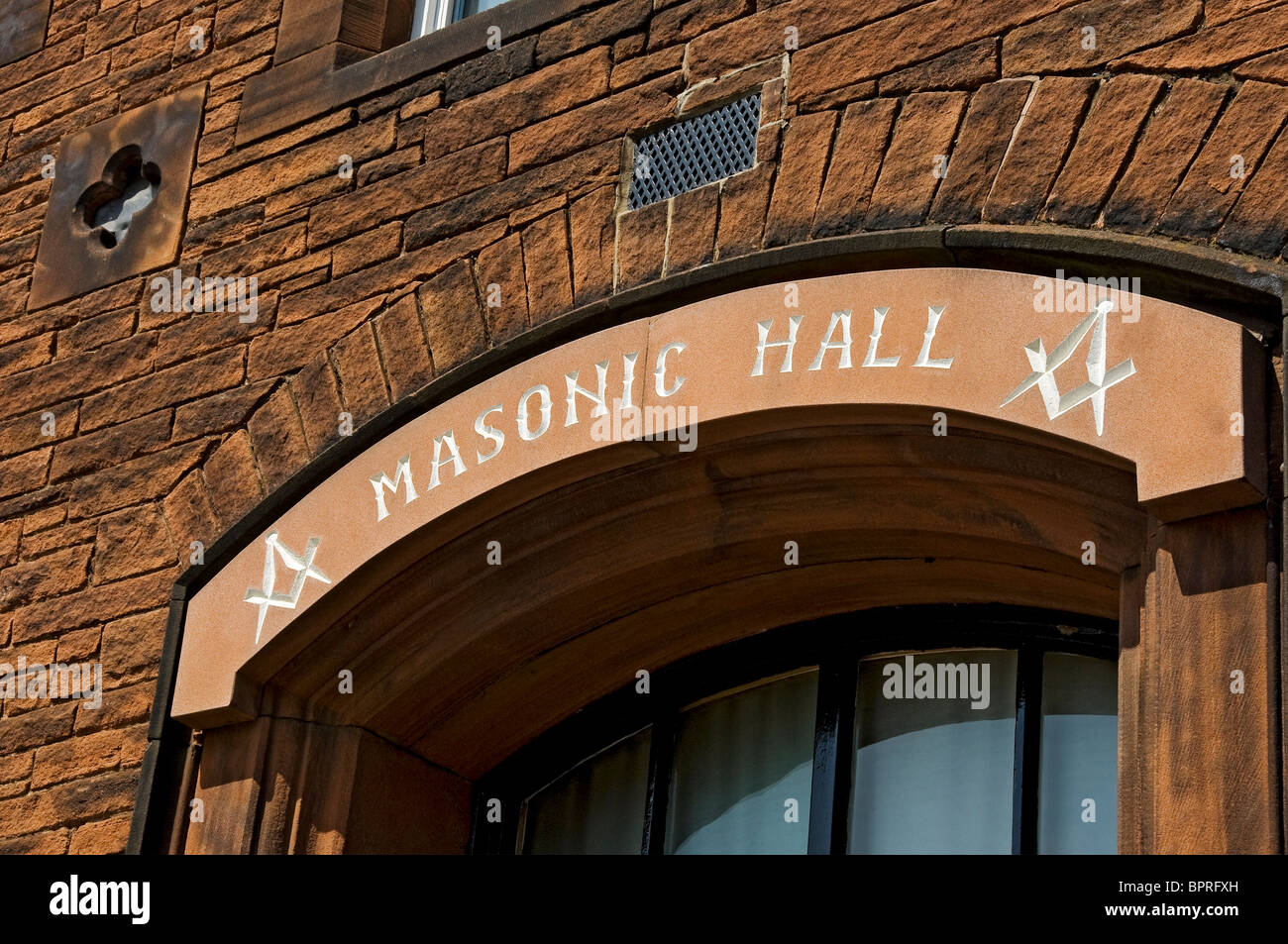 Sign above entrance to the Masonic Hall Penrith Cumbria England UK United Kingdom GB Great Britain - Stock Image