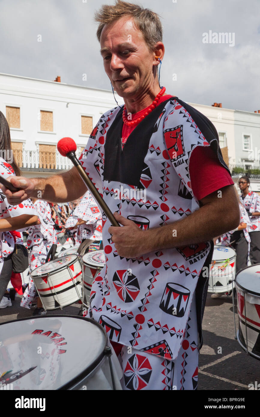 Drummer at the Notting Hill Carnival - Stock Image