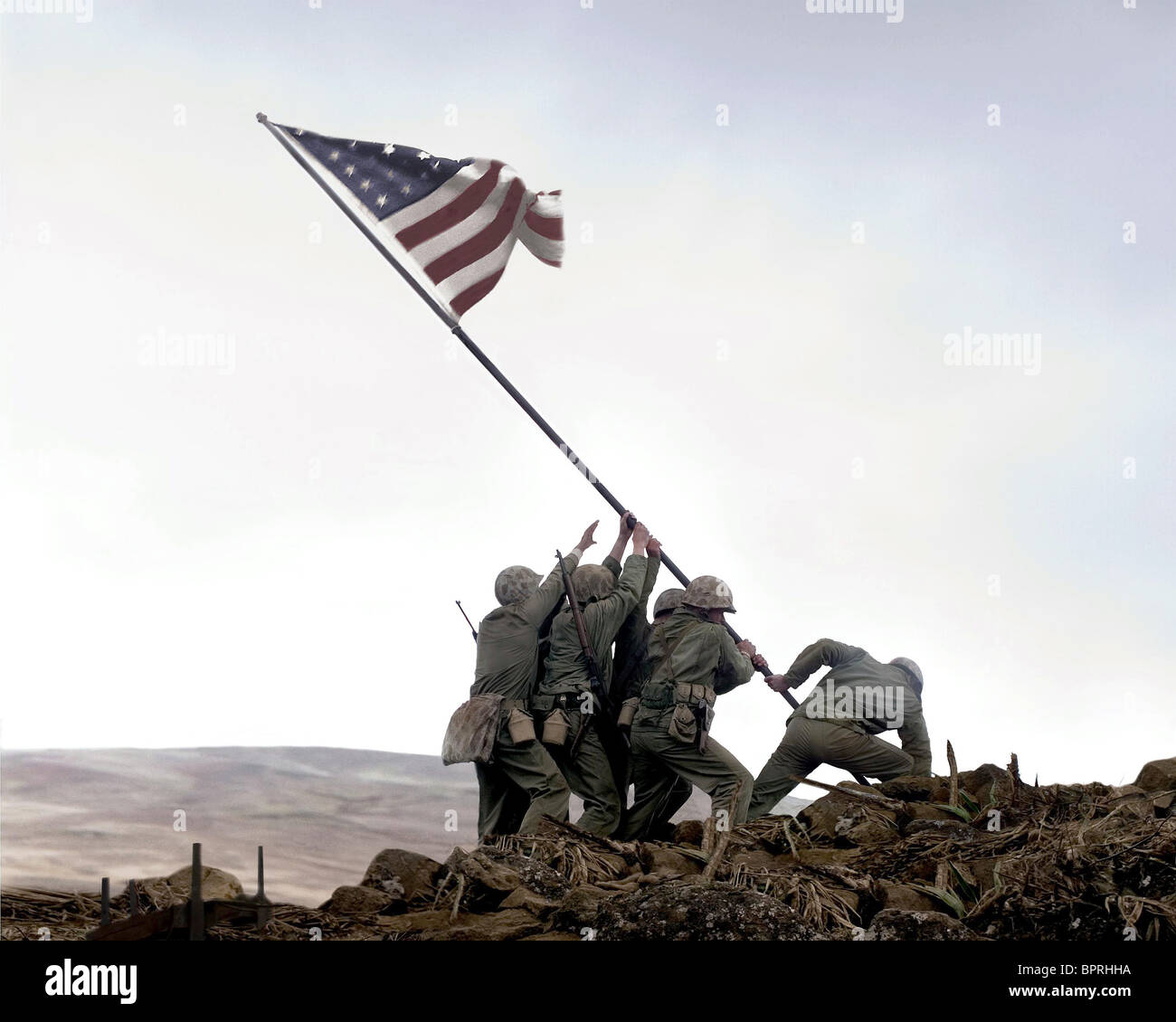 RAISING OF THE AMERICAN FLAG FLAGS OF OUR FATHERS (2006) - Stock Image