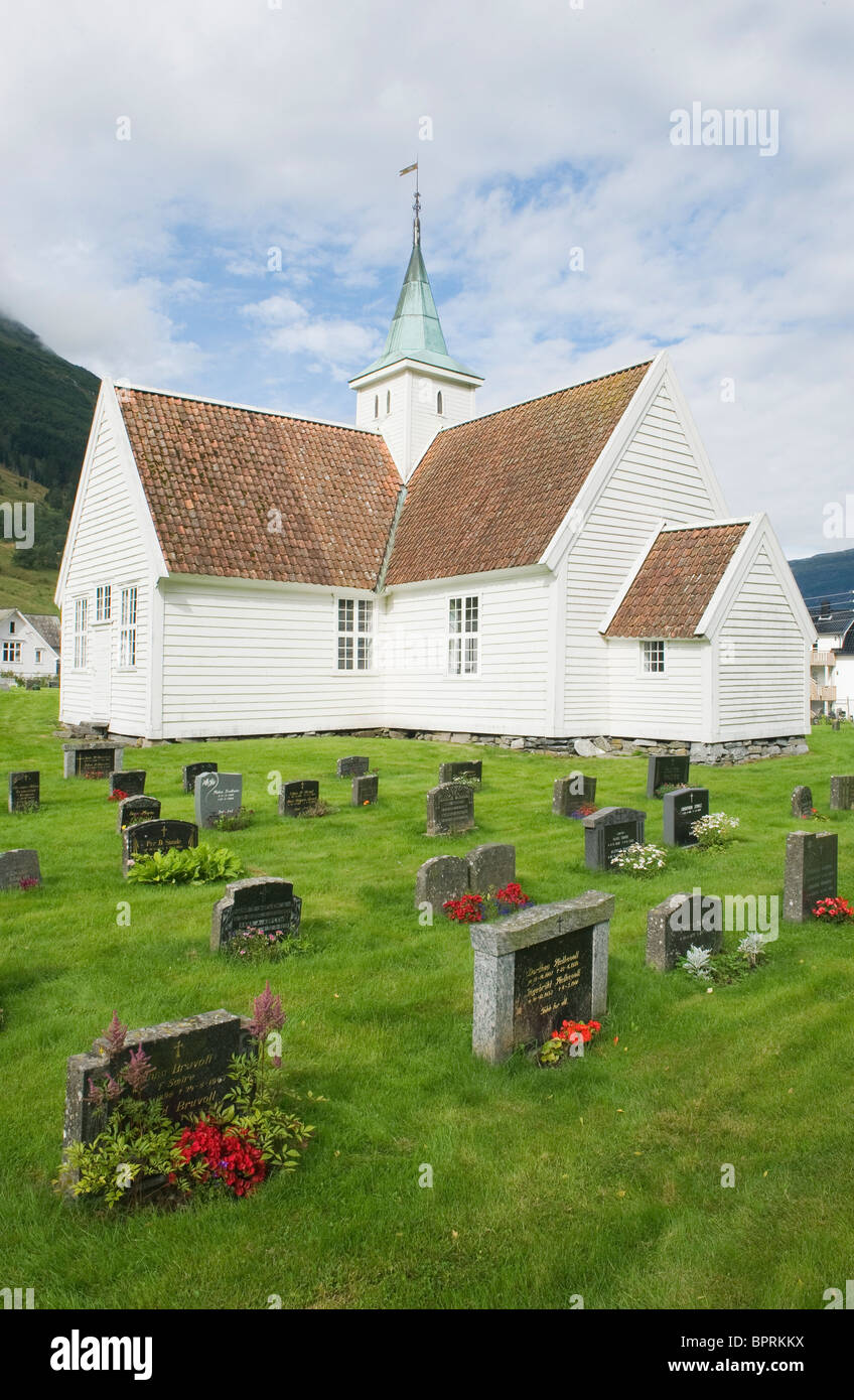Church and Graveyard, Olden Village, Nordfjord, Norway - Stock Image