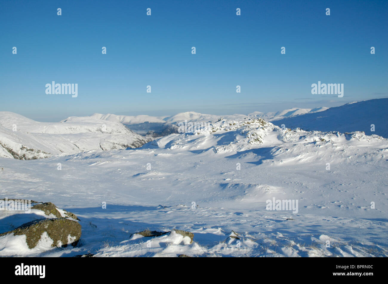 Looking north from the summit of Seathwaite Fell in the Lake District - Stock Image