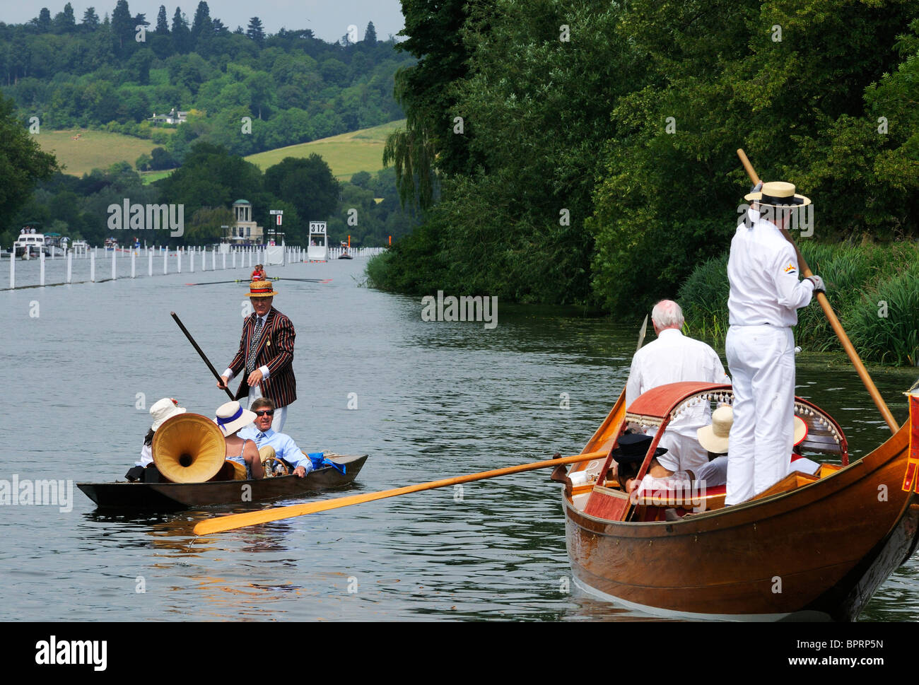 Messing around on the river during the races at Henley Royal Regatta . Henley On Thames . England - Stock Image
