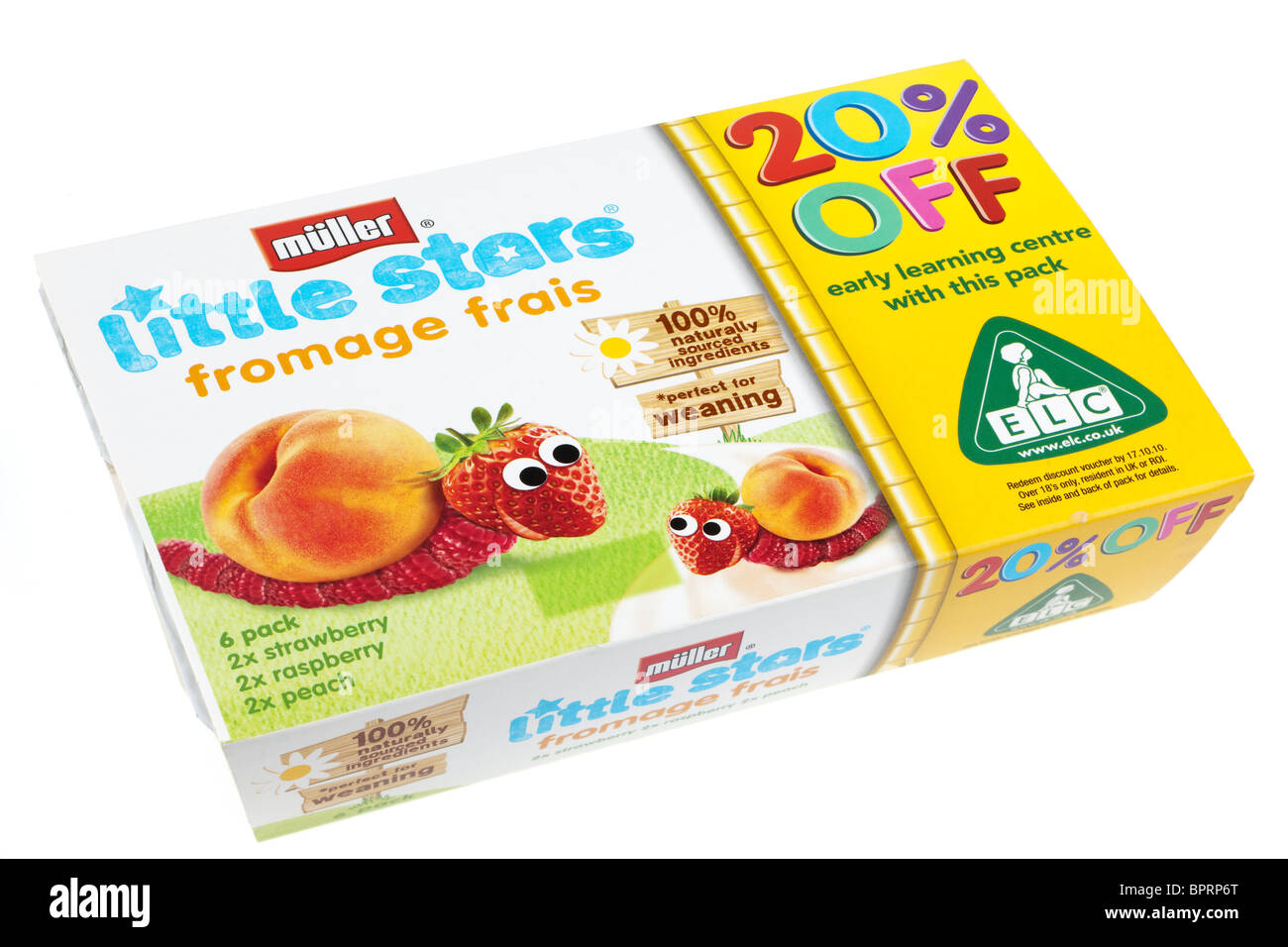 Six Packet of Muller Little stars fromage frais strawberry raspberry and peach flavoured - Stock Image