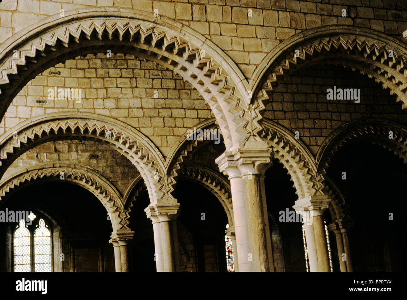 Durham Cathedral Galilee Chapel Norman Architecture Zig Zag Stock