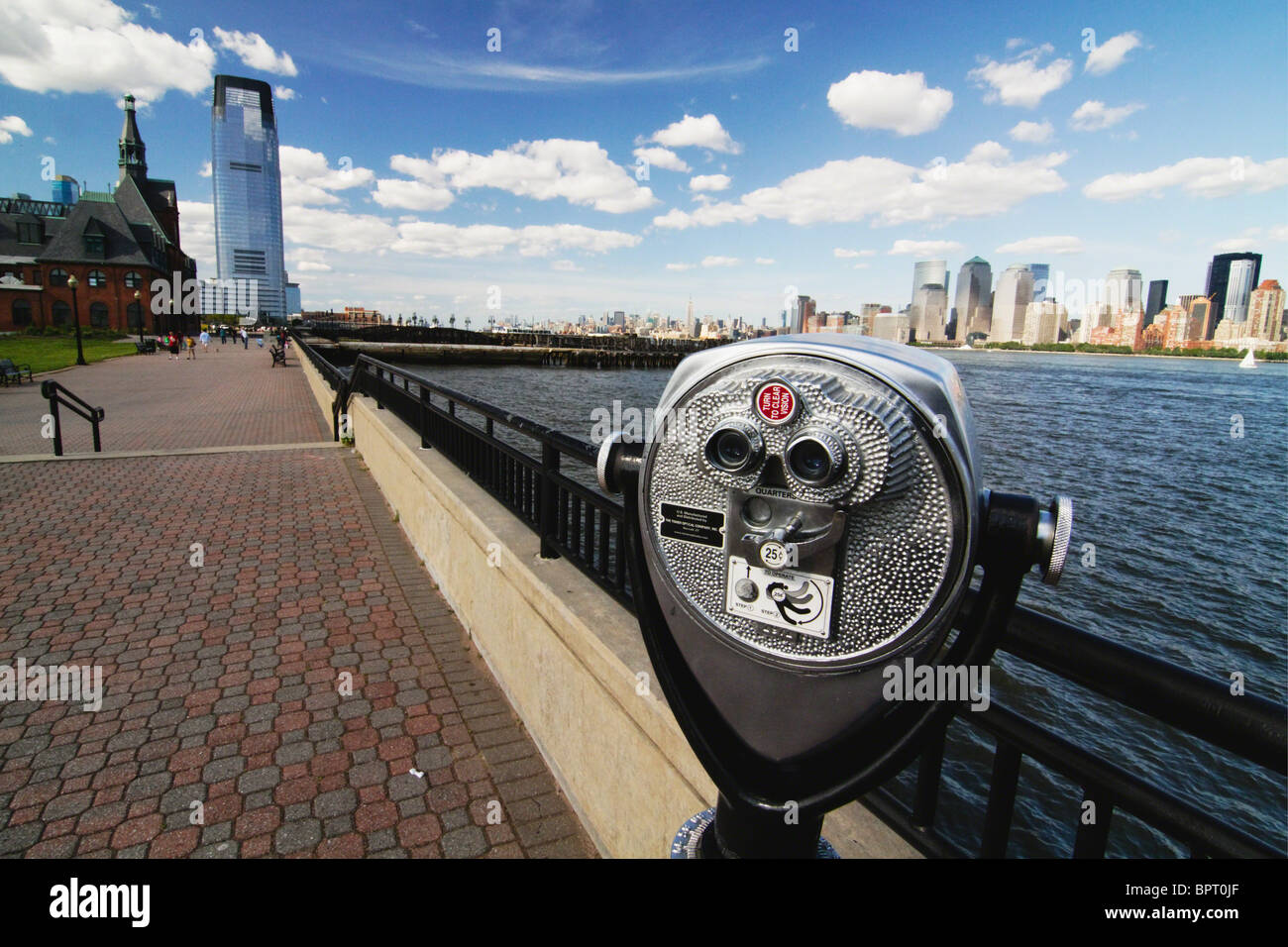 View of Lower Manhattan from Liberty State Park, New Jersey - Stock Image