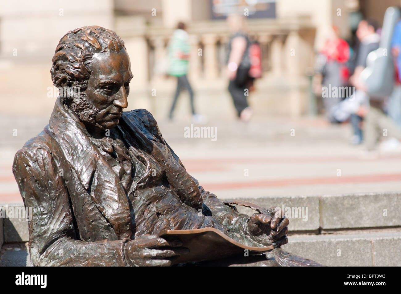 Statue of Thomas Attwood (economist and strong campaigner for electoral reform) seen in Chamberlain Square, Birmingham, - Stock Image