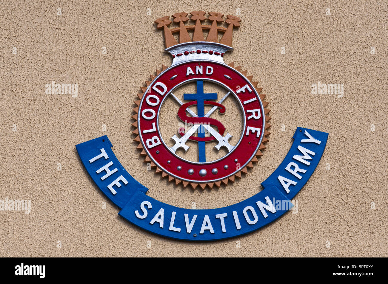"""Salvation Army sign with the army's slogan """"Blood and Fire"""" Stock Photo"""