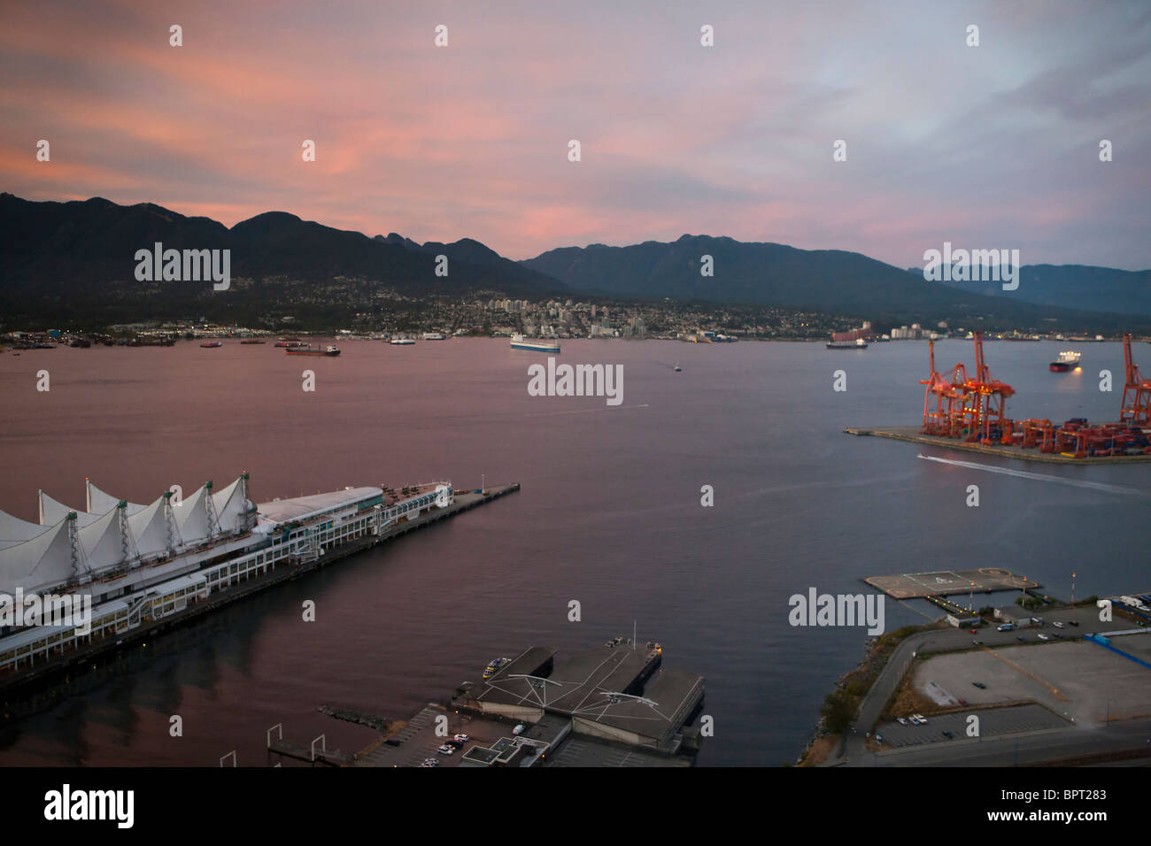 Aerial view of Canada Place and shipping terminals, Port of Vancouver, Vancouver, British Columbia, Canada - Stock Image