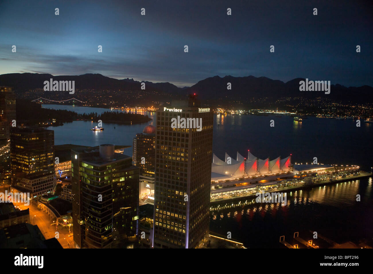 Aerial view of downtown Vancouver at night, British Columbia, Canada - Stock Image