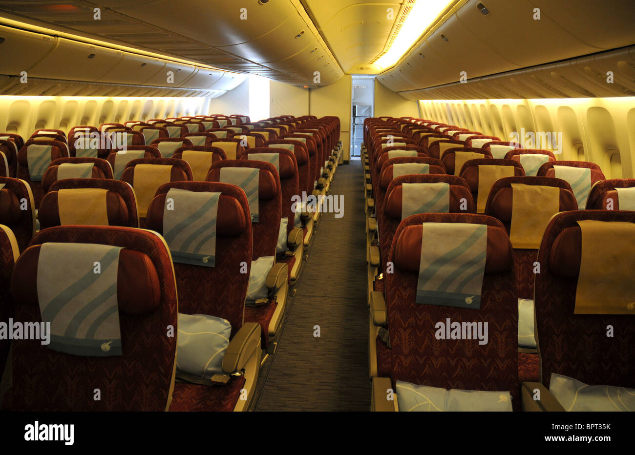 Boeing 777 Interior, Inside The Economy Class Cabin On An Airliner