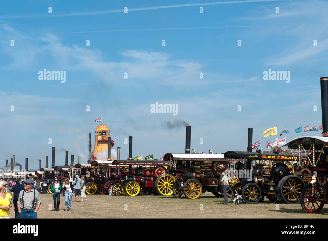 Showmans Traction Engines at Great Dorset steam fair 2010, England - Stock Image