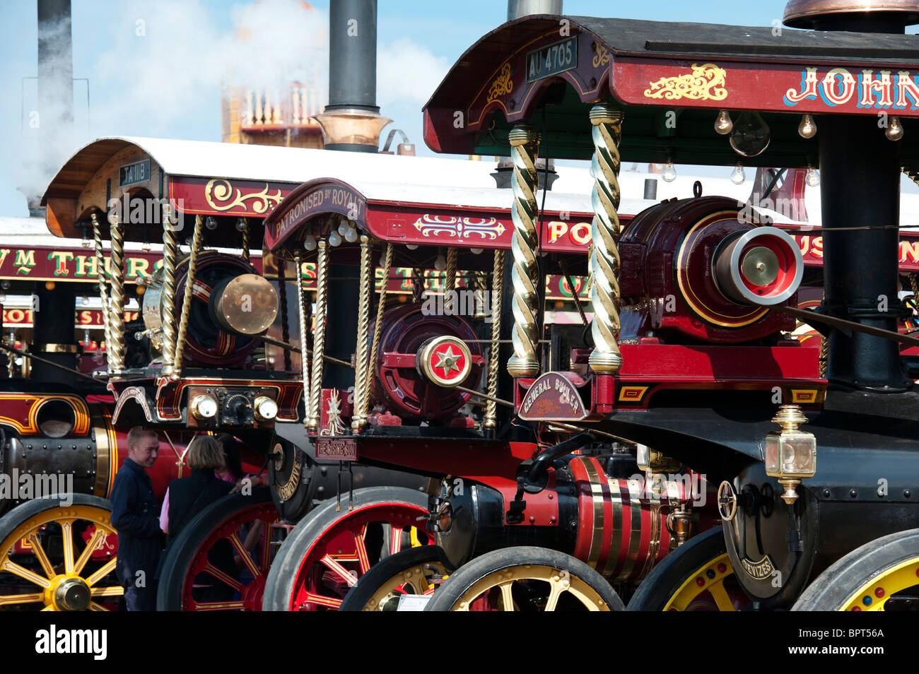 Showmans Traction Engines at the Great Dorset steam fair 2010, England - Stock Image