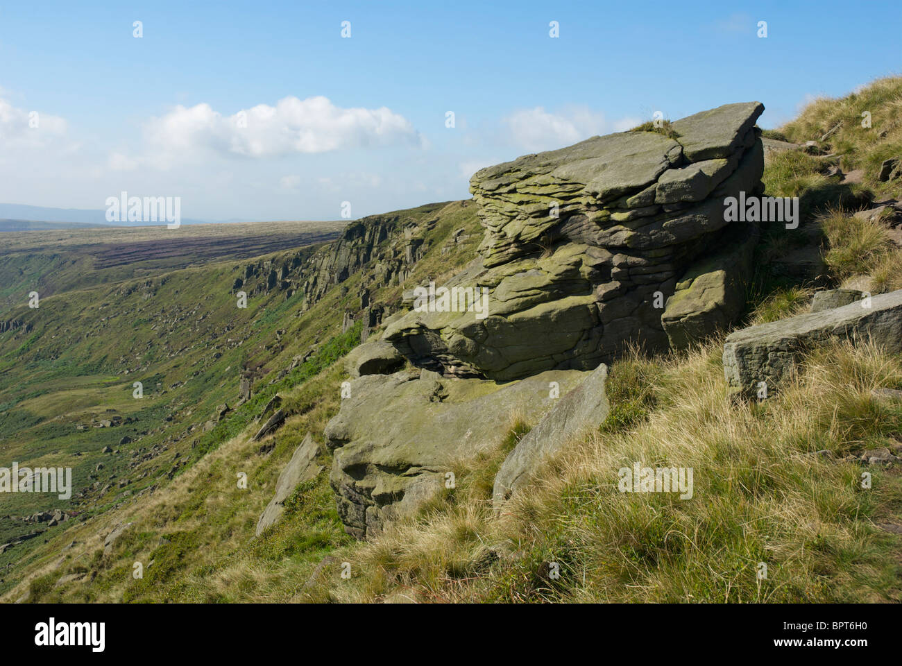 Laddow Rocks, a feature of the Pennine Way and the Crowden Valley, Peak National Park, Derbyshire, England UK - Stock Image