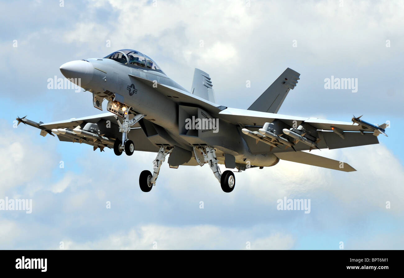 F18, F-18, the Boeing F/A-18E/F Super Hornet multirole fighter aircraft. Stock Photo