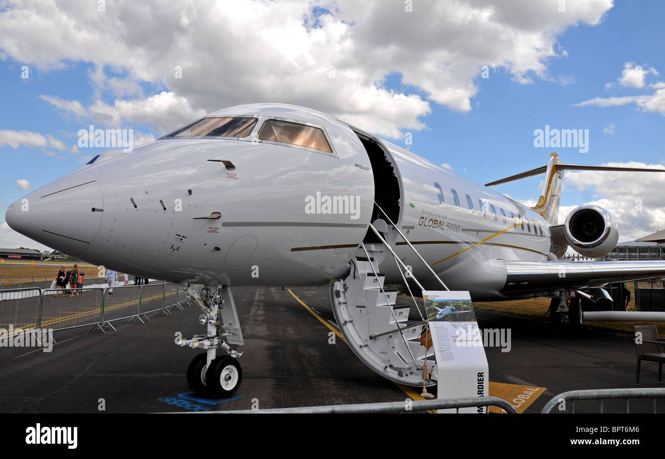 Bombardier Global 5000 is an ultra long range corporate and VIP high speed jet aircraft produced by Bombardier Aerospace. - Stock Image