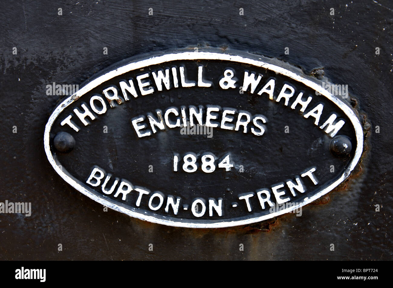 Makers plaque on Andresey Bridge, Burton on Trent, Staffordshire, England, UK Stock Photo