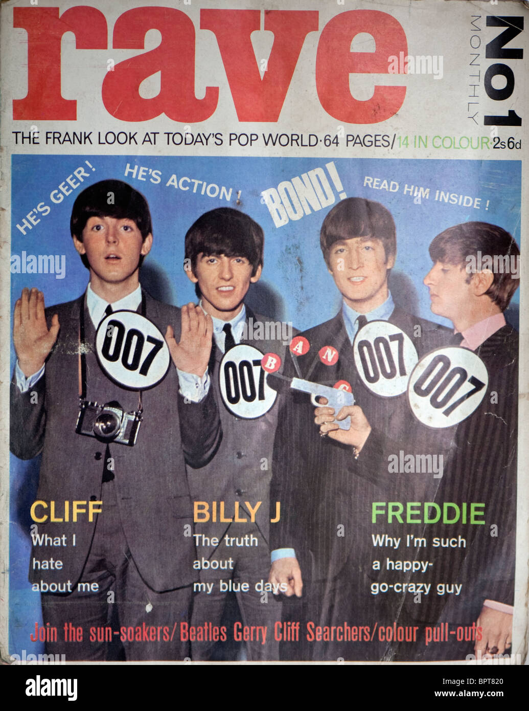 Cover of the Sixties magazine Rave showing The Beatles. - Stock Image