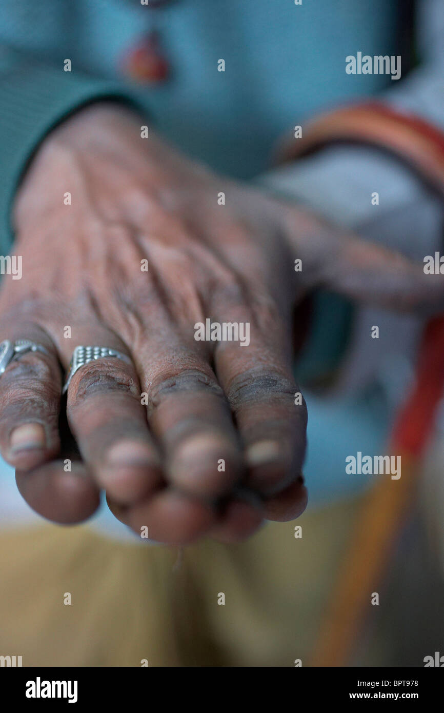 Hands of the Sadu in Rajasthan - Stock Image