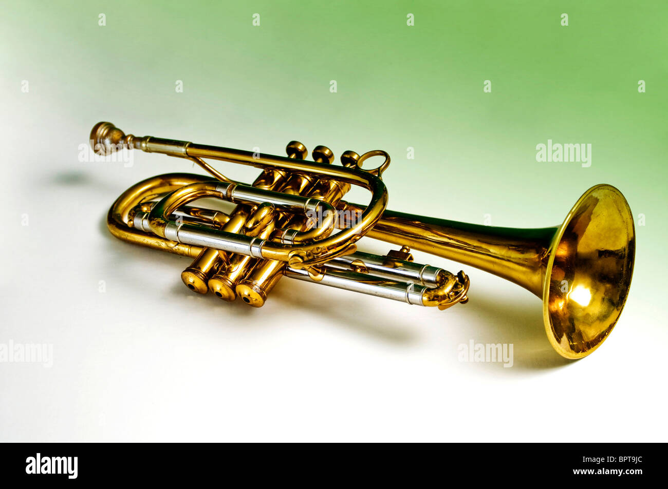 Brass trumpet against a white to green gradient background - Stock Image