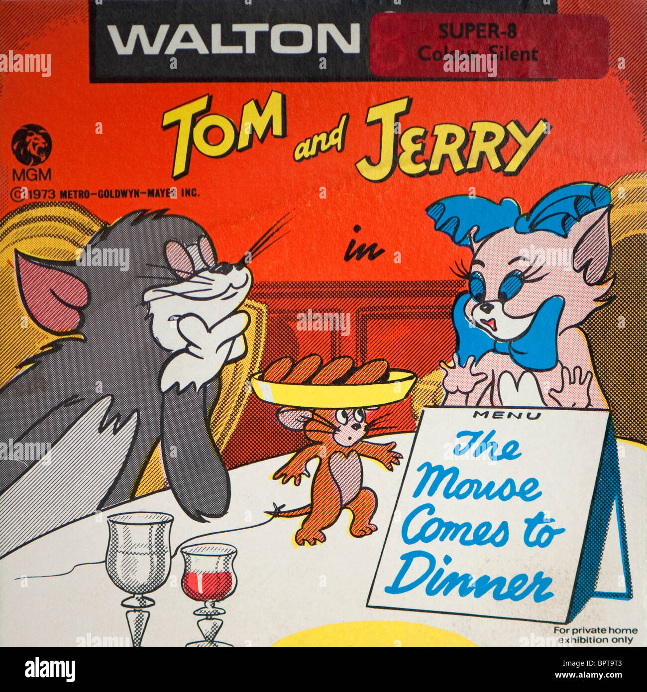Cover packaging for a Super-8 Tom and Jerry film 'The Mouse Comes to Dinner' distributed by MGM. - Stock Image