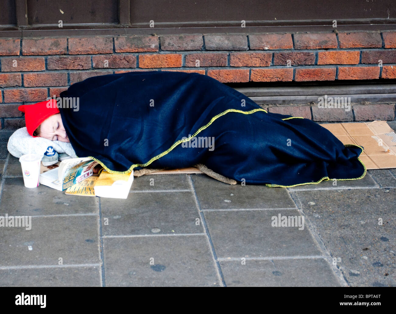 Homeless person sleeping rough, London, England, UK - Stock Image