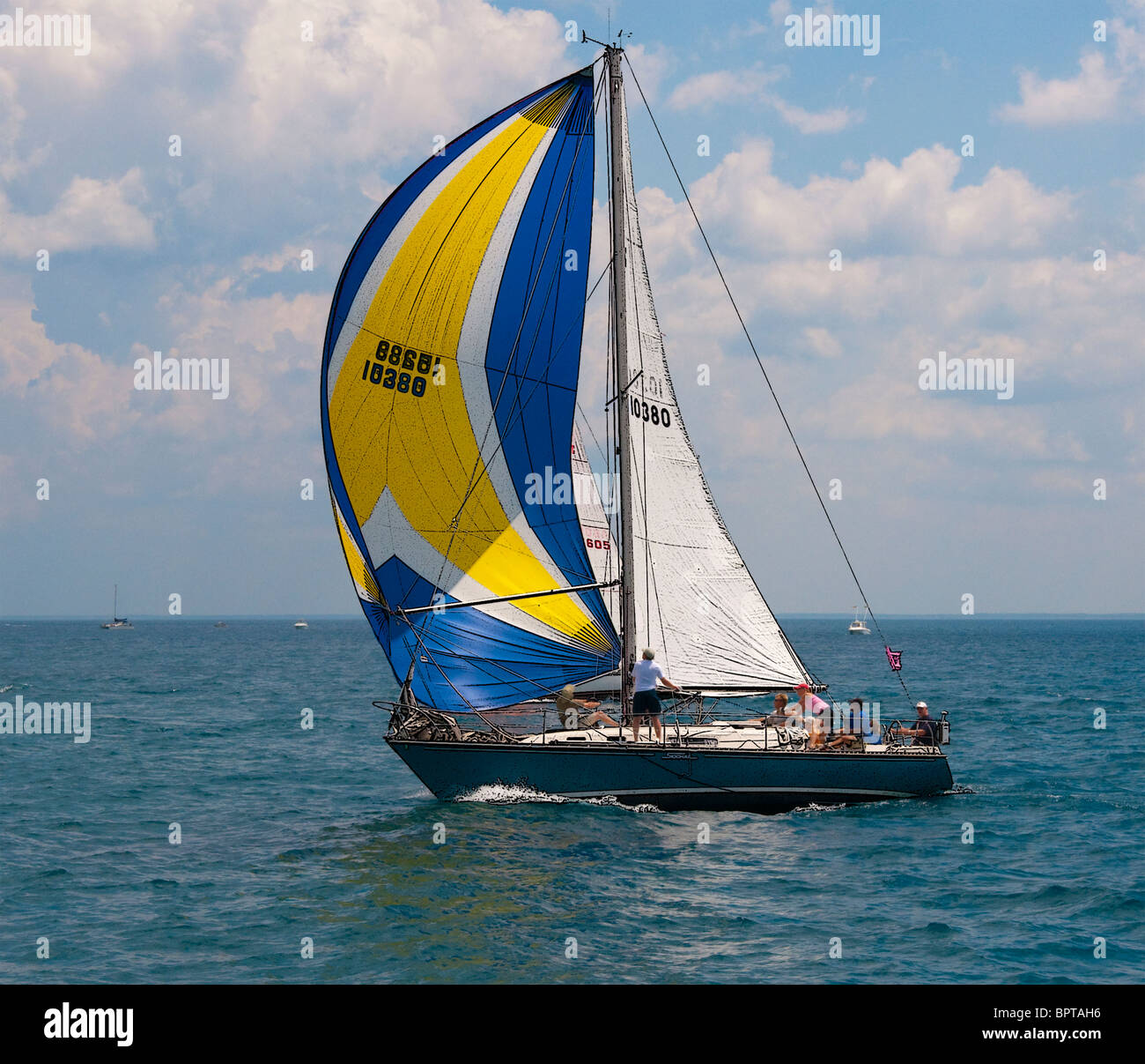 Sailboat races from Port Huron to St. Ingace. - Stock Image