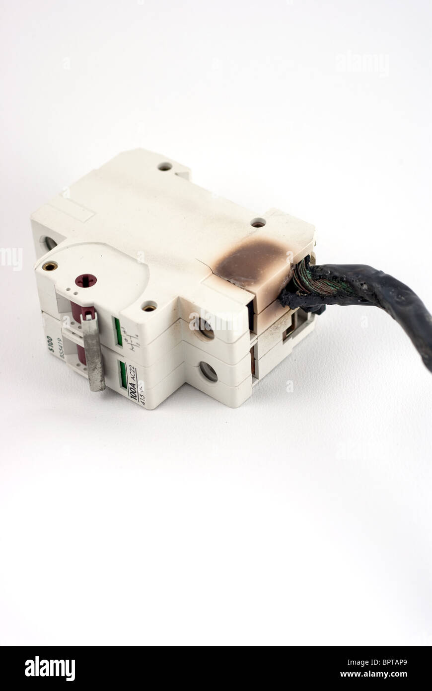 Electrical Fire Hazard Stock Photos Circuit Breaker Kc163 C25 China Main Switch Burnt Image