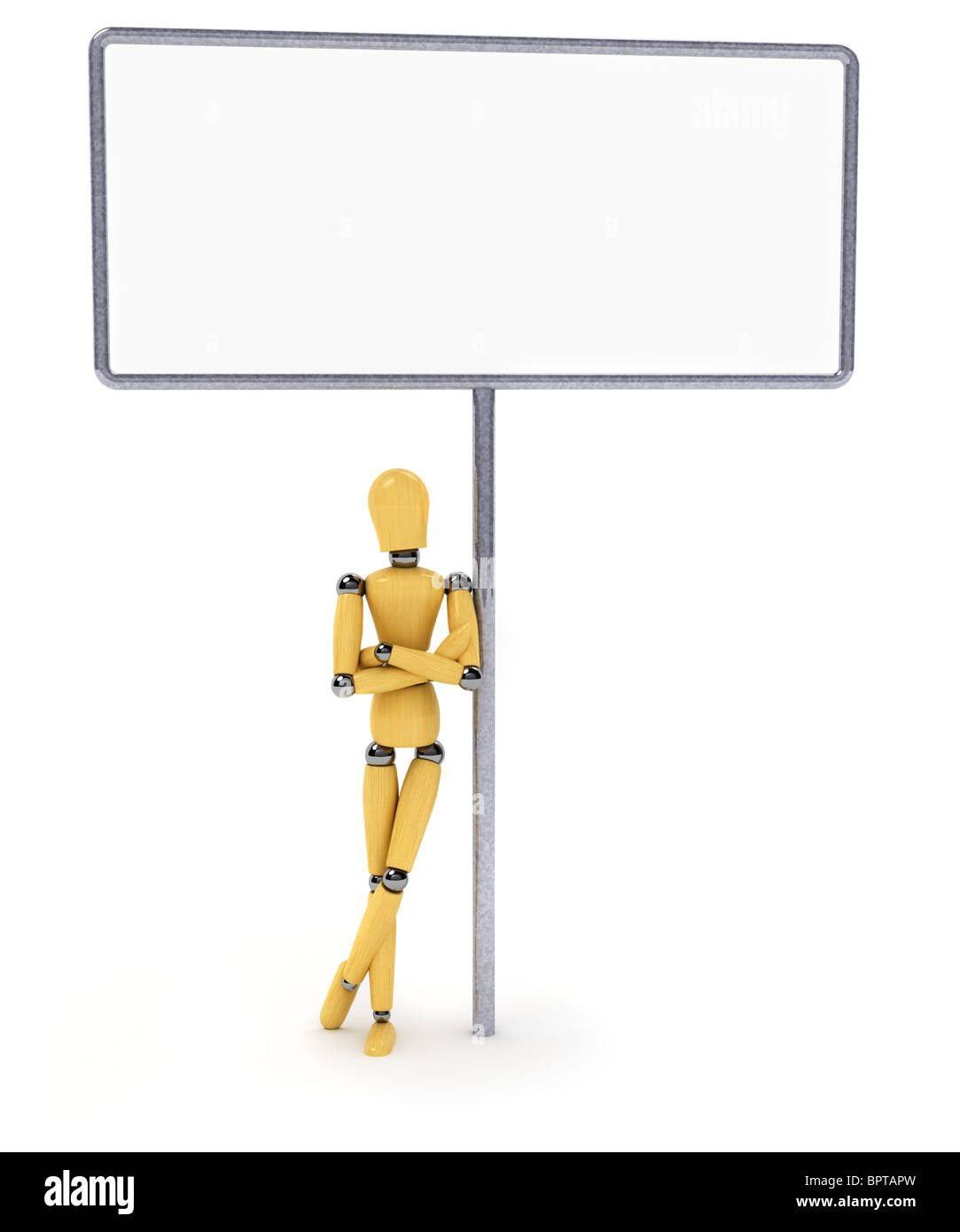 Wooden mannequin and big sign - Stock Image