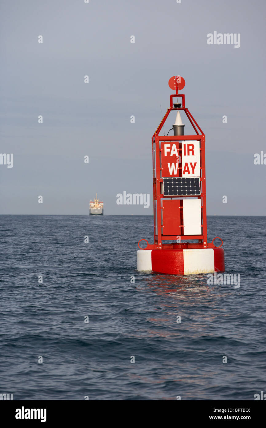 Belfast Fairway maritime navigation buoy at the entrance to Belfast harbour navigation channel in Belfast Lough - Stock Image