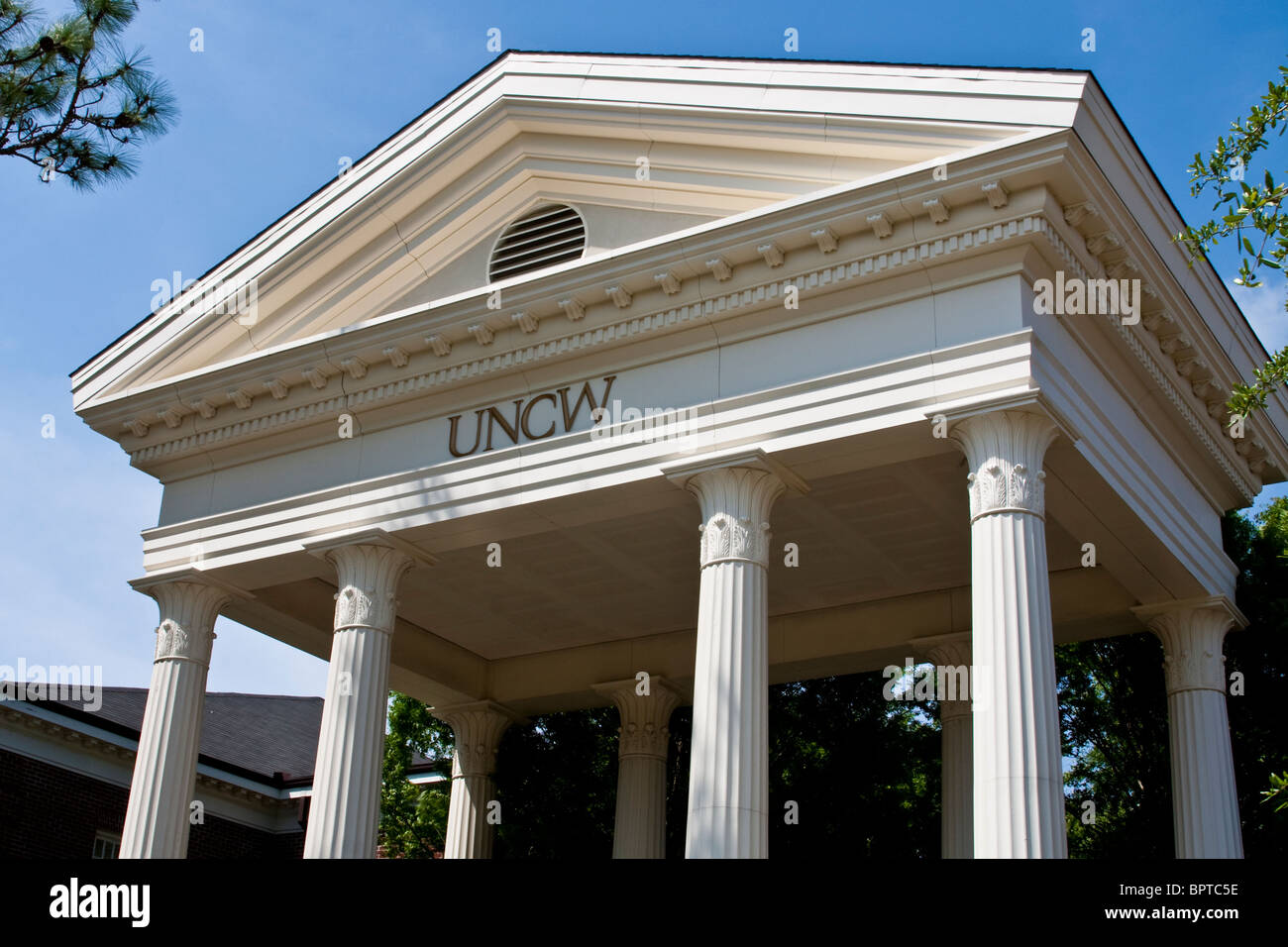 Columned archway at the University of North Carolina in Wilmington. Stock Photo